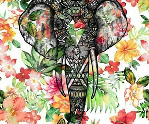 elephant, flowers, and wallpaper image