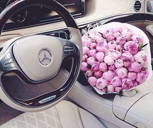 flowers, car, and mercedes image