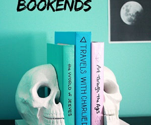 books, skull, and skull bookends image