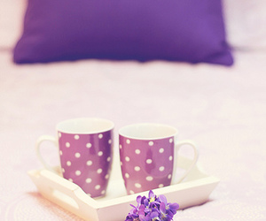 bed, cup, and flowers image