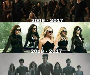 the vampire diaries, pretty little liars, and teen wolf image