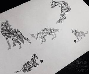 art, cats, and drawings image
