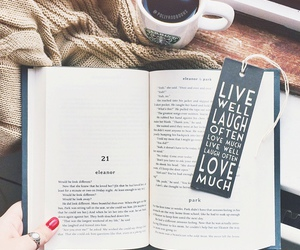 bookcase, bookmark, and coffee image