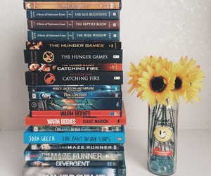 bookcase, books, and flowers image
