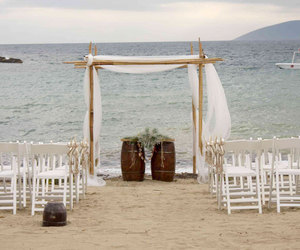 beach, bride, and decoration image