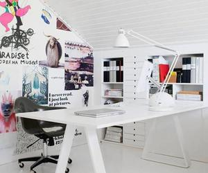room, desk, and white image