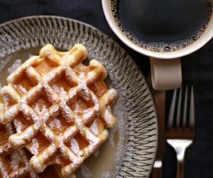 coffee, food, and waffles image