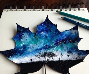 art, blue, and leaves image