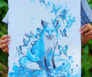 art, blue, and fox image