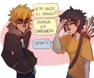 solangelo, nico, and percy jackson image