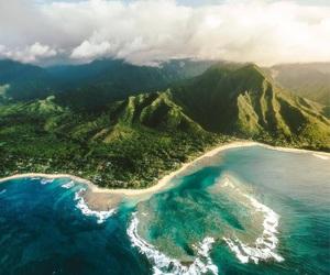 Island, beach, and mountains image