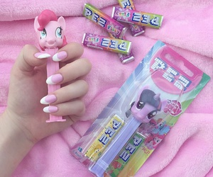 pink, nails, and pez image