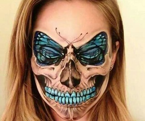 Halloween, butterfly, and skull image