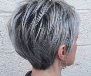gray hair color and granny hairstyle image
