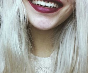 piercing, smile, and hair image
