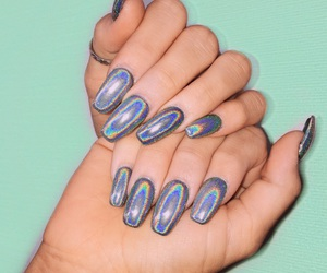 glitter, hologram, and nails image