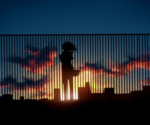 anime, sunset, and sky image
