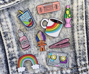 pins, rainbow, and jeans image