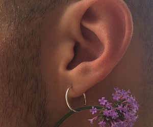 flowers, boy, and earrings image