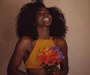 flowers, smile, and beauty image