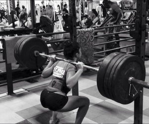 girl, gym, and squat image
