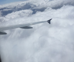 airplane, clouds, and flight image