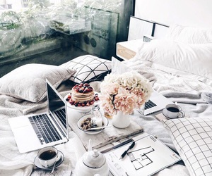 flowers, bed, and food image