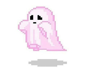 ghost, pink, and pixel image