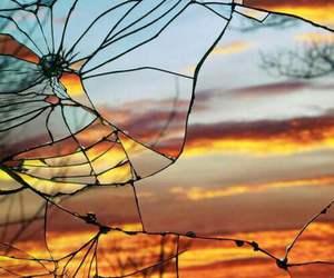 sunset, mirror, and broken image