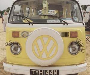 yellow, car, and hippie image