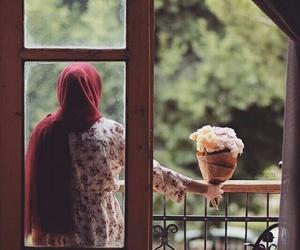 hijab, flowers, and islam image