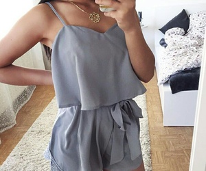 fashion, jumpsuit, and grey image