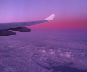 sky, plane, and purple image