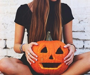 Halloween, pumpkin, and girl image