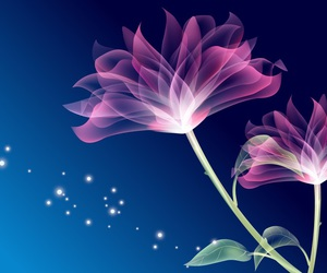 blue, flower, and glowing image