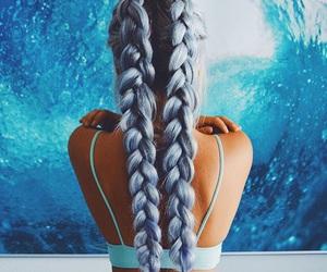 blue hair, braid, and hair image