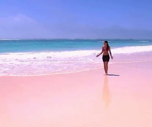 beach, girl, and pink image