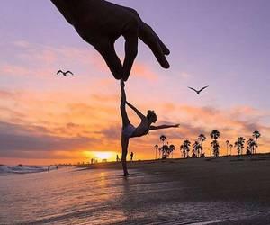 sunset, beach, and dance image