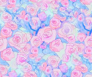 rose, blue, and flores image