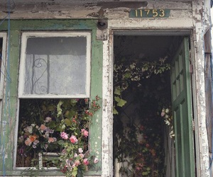 flowers, house, and abandoned image
