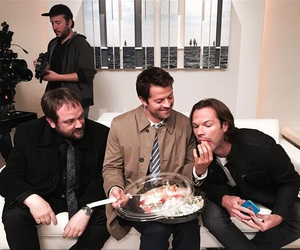 jared padalecki, misha collins, and sam winchester image