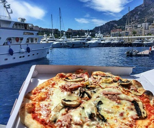 boat, food, and sea image