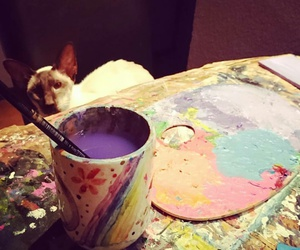 art, cat, and paint image