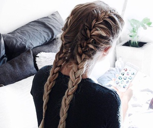 trenzas, french braids, and blonde image