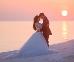 beach, bliss, and bride image