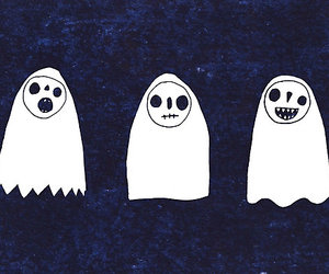 blue and white, boo, and Halloween image