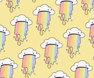 wallpaper, clouds, and rainbow image