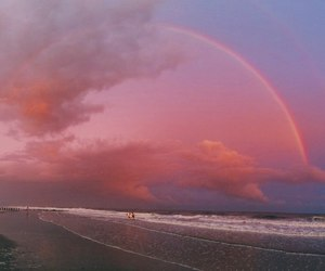 rainbow, sky, and pink image
