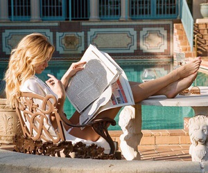 blonde, reading, and vacation image