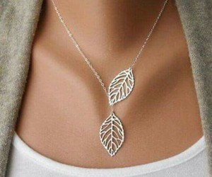 necklace, leaves, and jewelry image